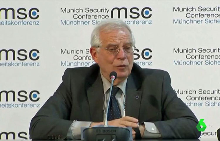 Josep Borrell, yesterday in Munich./ Image: LaSexta