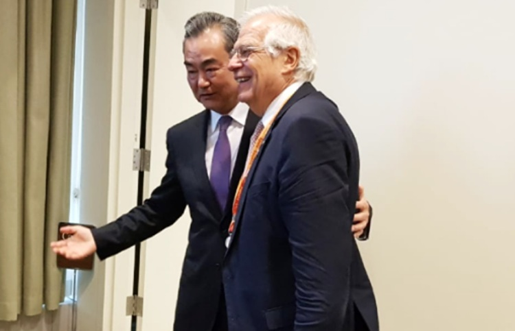 Borrell with Wang Yi during the UN Assembly./ Photo: MAEC Facebook