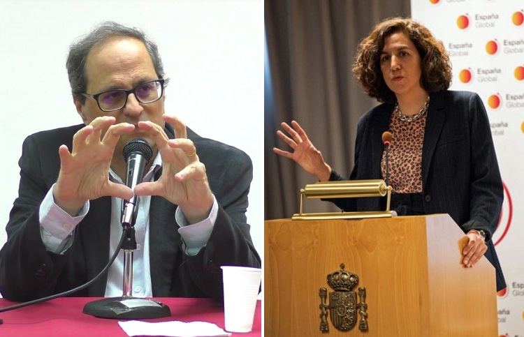 Quim Torra and Irene Lozano. / Photos: youtube commons.wikimedia.org/España Global